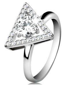 Stříbrný 925 prsten - zirkonový obrys trojúhelníku