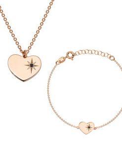 Stříbrný 925 set růžovozlaté barvy - náramek a náhrdelník