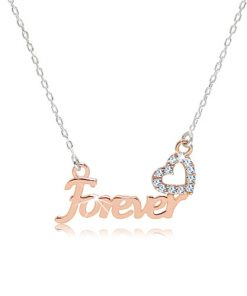 "Stříbrný náhrdelník 925 - nápis ""Forever"" v růžovozlatém odstínu"