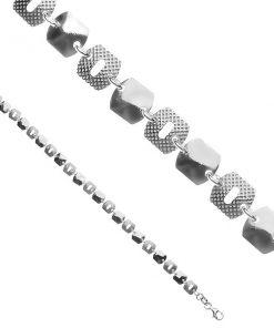 Stříbrný náramek 925 - lesklé a mřížkované čtverce