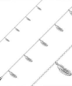 Stříbrný náramek 925 - pět přívěsků v podobě pírek