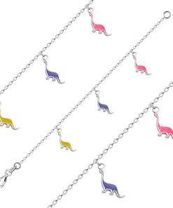 Stříbrný náramek 925 pro děti - brontosaurus s růžovou