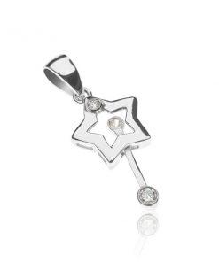 Stříbrný přívěsek 925 - hvězda s pohyblivou magickou tyčinkou se zirkony