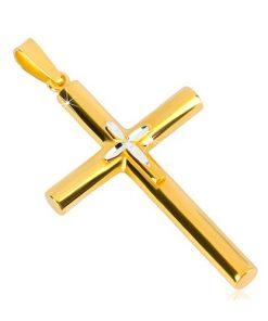 Stříbrný přívěsek 925 - kříž zlaté barvy