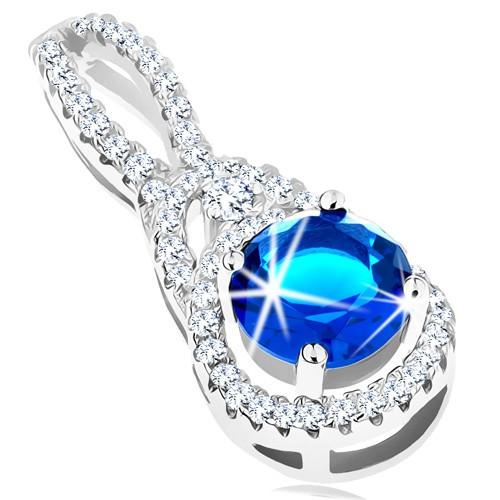 Stříbrný přívěsek 925 - kulatý zirkon v tmavě modrém odstínu