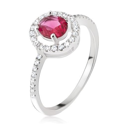 Stříbrný prsten 925 - kulatý růžovočervený zirkon