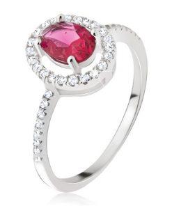 Stříbrný prsten 925 - oválný růžovočervený kamínek