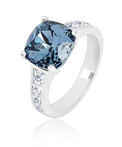 Stříbrný prsten 925 - zirkonový čtverec tmavě modré barvy a čiré zirkony - Velikost: 51