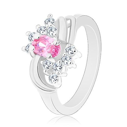 Třpytivý prsten ve stříbrné barvě s růžovým oválem