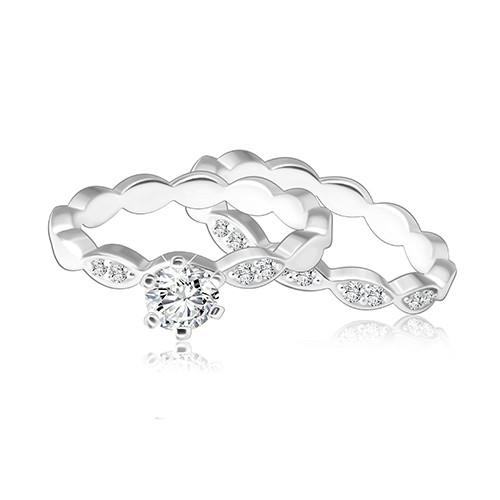 Dvojset stříbrných prstýnků 925 - pospojovaná zrnka ozdobená zirkony