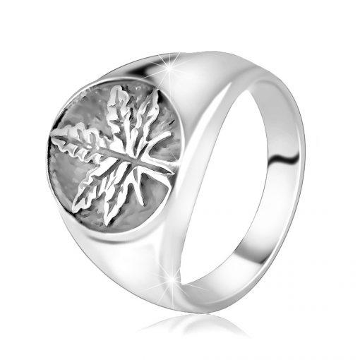 Mohutný stříbrný 925 prsten - marihuanový list v kruhu s patinou - Velikost: 72