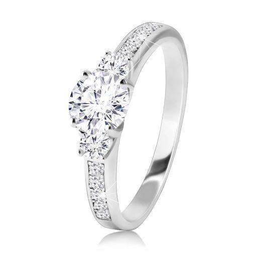 Prsten z 925 stříbra - třpytivé čiré zirkony