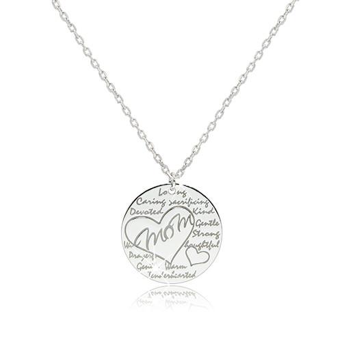 """Rhodiovaný stříbrný náhrdelník 925 - lesklý kroužek s nápisem """"Mom"""" v kontuře srdce"""