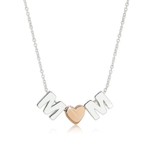 """Rhodiovaný stříbrný náhrdelník 925 - motiv """"MOM"""" tvořený písmeny """"M"""" a srdíčkem"""