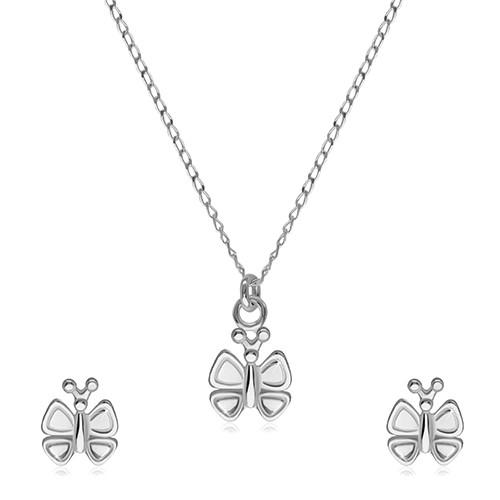 Stříbrná 925 dvojdílná sada - náušnice a náhrdelník