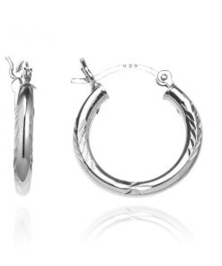 Stříbrné kruhy 925 - gravírované klasy a paprsky