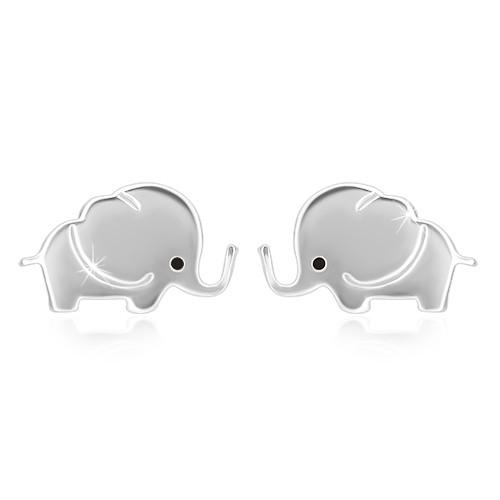Stříbrné náušnice 925 - blýskavý slon s černým očkem