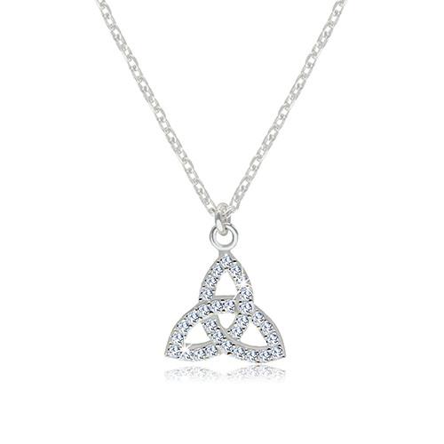 Stříbrný 925 náhrdelník - čirý zirkonový symbol Triquetra