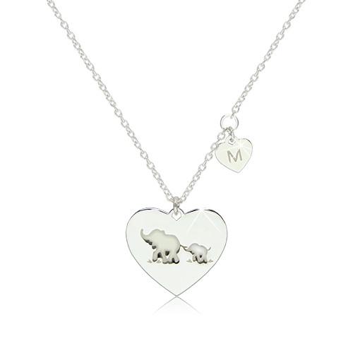 """Stříbrný 925 náhrdelník - dvě lesklá symetrická srdíčka se slony a písmenem """"M"""""""