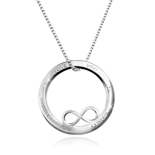 Stříbrný 925 náhrdelník - kontura kruhu se symbolem nekonečna
