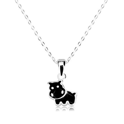 Stříbrný 925 náhrdelník - kravička zdobená černou glazurou