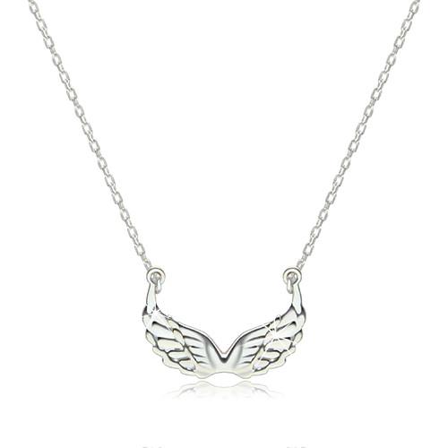 Stříbrný 925 náhrdelník - lesklá vyřezávaná andělská křídla