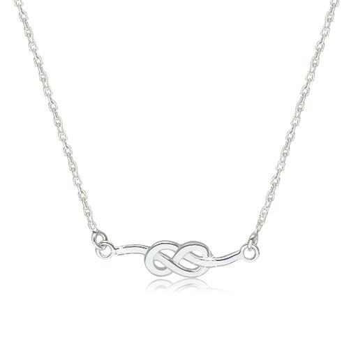 Stříbrný 925 náhrdelník - lesklý a hladký symbol nekonečna