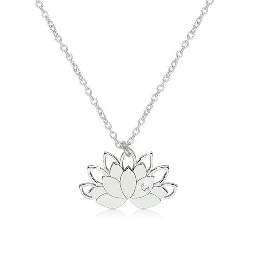 Stříbrný 925 náhrdelník - lotosový květ s konturami okvětních lístků a čirým zirkonem