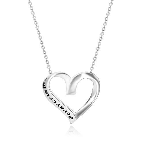 Stříbrný 925 náhrdelník - stuha svinutá do srdíčka
