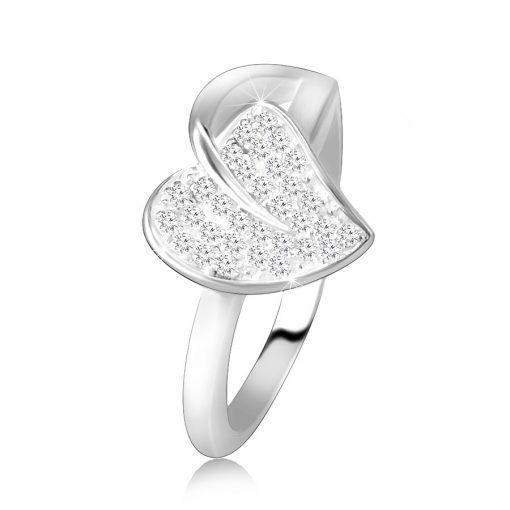 Stříbrný 925 prsten - lesklý stonek s lístkem a třpytivými zirkony - Velikost: 72