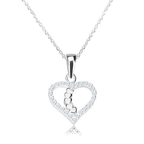 Stříbrný náhrdelník 925 - obrys srdce s blýskavými zirkony