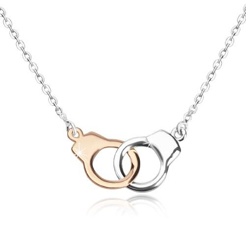 Stříbrný náhrdelník 925 - pouta ve dvoubarevné kombinaci