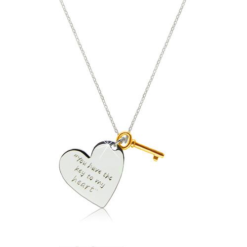 """Stříbrný náhrdelník 925 - srdce s nápisem """"You have the key to my heart"""""""