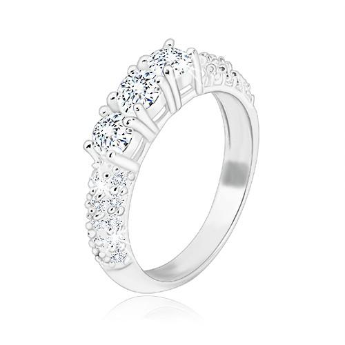 Zásnubní prsten ze stříbra 925 - tři třpytivé zirkony
